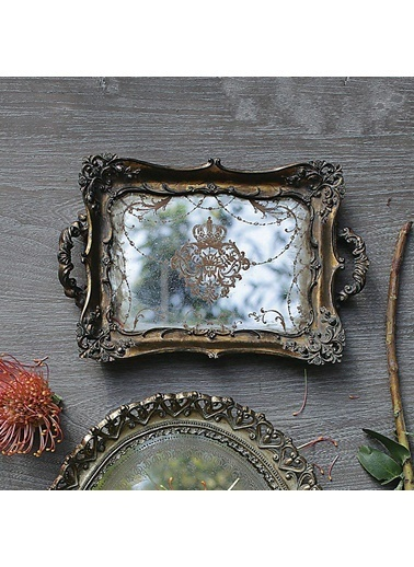 Warm Design Antik Aynalı Tepsi Altın